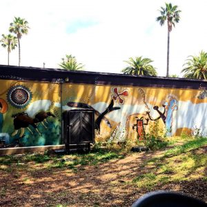 Mural inspired by Chumash petroglyphs, Anisq'Oyo Park, Isla Vista. Photo by author.
